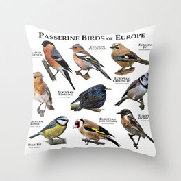Passerine Birds of Europe Throw Pillow