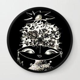 Alien Girl black by Christiane Wall Clock