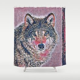 GlitzyAnimal_Wolf_002_by_JAMColors Shower Curtain