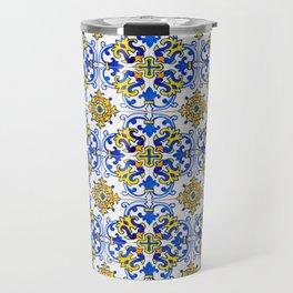 Blue Yellow Seamless Pattern Antique Portuguese Azulejo Tile Travel Mug
