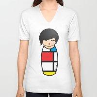 mondrian V-neck T-shirts featuring Kokeshi Mondrian by Pendientera