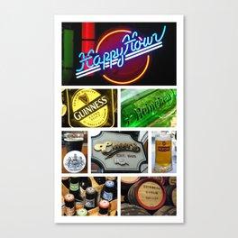 Happy Hour Neon Collage - Bar or Kitchen Decor Canvas Print