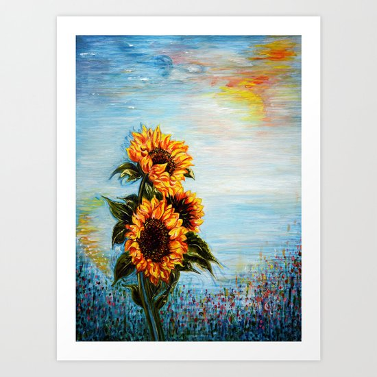 Sunflowers! Where Ocean meets Sky Art Print