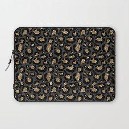 Black Gold Leopard Print Pattern Laptop Sleeve
