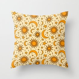 Vintage Sun and Star Print Throw Pillow