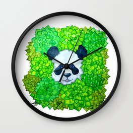 Watercolor panda's  head  in greens. succulents Wall Clock