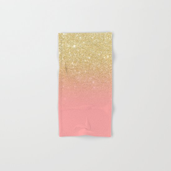 Modern gold ombre pink color block Hand & Bath Towel