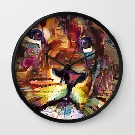 Colorful Lion Painting 2018 Wall Clock