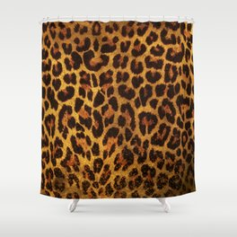 Glitter Leopard Print Shower Curtain