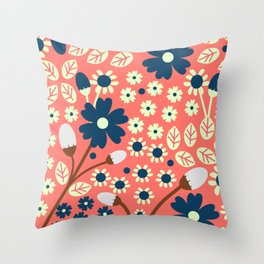 Vintage floral field Throw Pillow