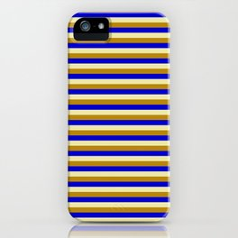Pale Goldenrod, Dark Goldenrod, and Blue Colored Striped/Lined Pattern iPhone Case