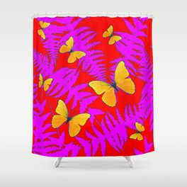DECORATIVE RED-PURPLE FERNS & GOLDEN BUTTERFLIES Shower Curtain