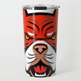 Red Tiger Bulldog Head Front Mascot Travel Mug