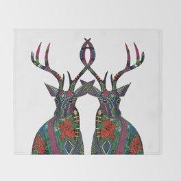 poinsettia deer white Throw Blanket