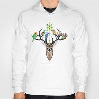 yetiland Hoodies featuring deer birds by Manoou
