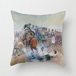 C.M. Russell Bronc Breakfast  Throw Pillow