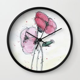 Poppies painting watercolor and black ink illustration Wall Clock