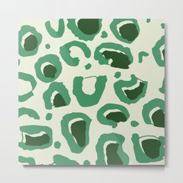 Leopard Skin Inspire Pattern Green Metal Print