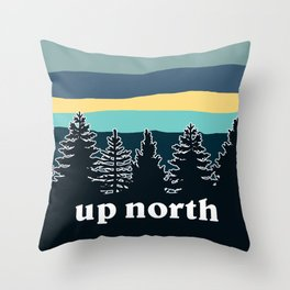 up north, teal & yellow Throw Pillow
