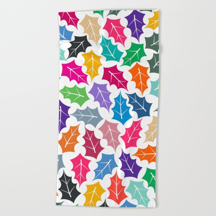 Colorful leaves II Beach Towel