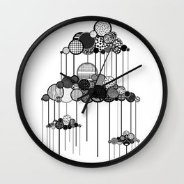 Rain Game in Black and White Wall Clock