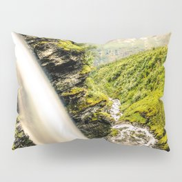 Waterfall down the cliff forming a river in nature Pillow Sham