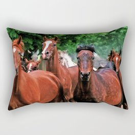 Polish Arabian Mares Rectangular Pillow