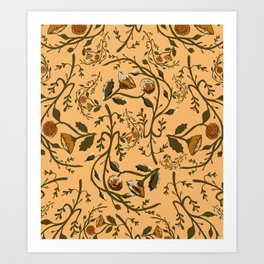 Antique Floral Wallpaper Art Print