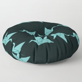 blue japanese origami Floor Pillow