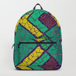 Green, yellow and brown mosaic figure #Terrazzo #Blobs Backpack