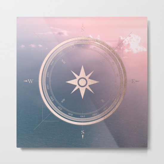 The Edge of Tomorrow - Rosegold Compass Metal Print