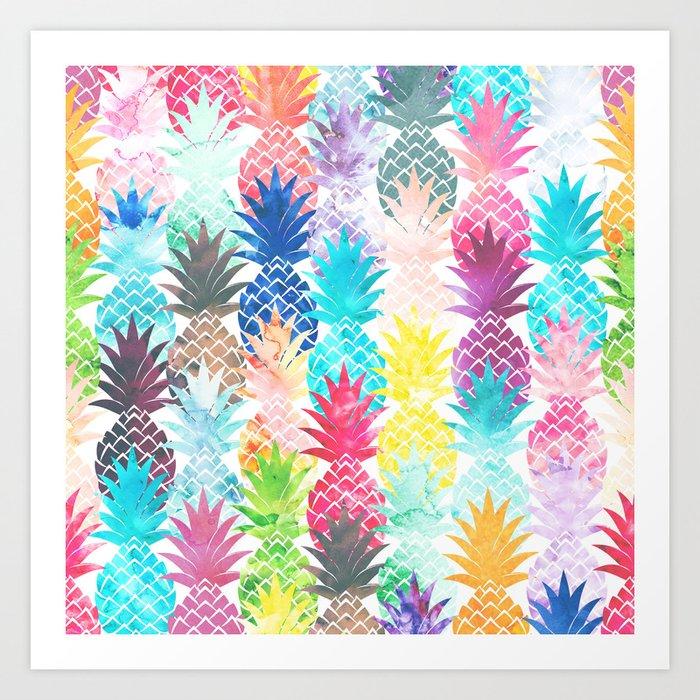 Hawaiian Pineapple Pattern Tropical Watercolor Art Print