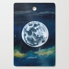 Full Moon Mixed Media Painting Cutting Board