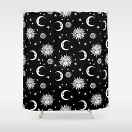 Linocut black and white sun moon and stars outer space zodiac astrology gifts Shower Curtain
