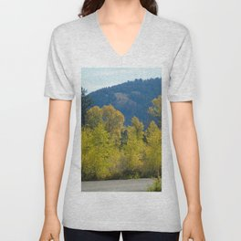 Autumn Trees and a Road Unisex V-Neck
