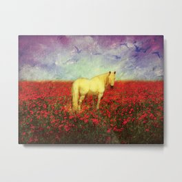 Horse in Flowers Metal Print