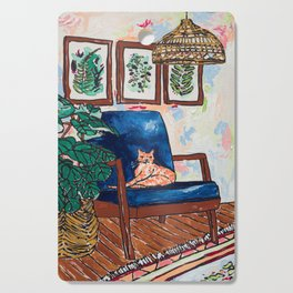 Ginger Cat on Blue Mid Century Chair Painting Cutting Board