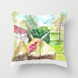 beautiful countryside landscape rice field Throw Pillow