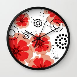 PEPPER POPPIES | red Wall Clock
