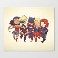 superheros Canvas Prints featuring Super BFFs by Dooomcat
