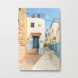 Blue door in a street in Rabat | Fine art travel print Morocco pastel Metal Print