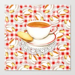 Cup of Tea, a Biscuit and Red Gingham Canvas Print