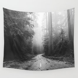 Redwood Forest Adventure Black and White - Nature Photography Wall Tapestry