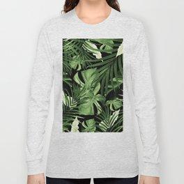 Tropical Jungle Night Leaves Pattern #5 #tropical #decor #art #society6 Long Sleeve T-shirt