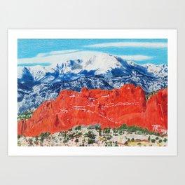 Pikes Peak Behind the Garden of the Gods Art Print