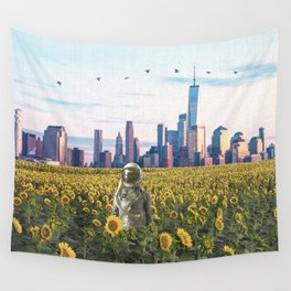 Astronaut in the Field-New York City Skyline Wall Tapestry