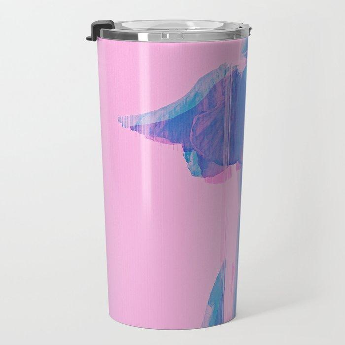 Light Blue and Blush Glitched Iris Travel Mug