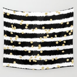 Modern black watercolor stripes chic gold confetti Wall Tapestry