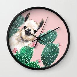 Llama and Cactus Pink Wall Clock