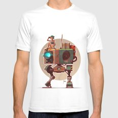 Robot with a girl White MEDIUM Mens Fitted Tee